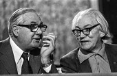 Jim Callaghan MP (L) talking to Michael Foot MP, Labour Party conference, Blackpool 1978 - Martin Mayer - 04-10-1978
