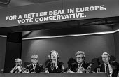 Pre European election press conference by Conservative Party, shortly after the general election that brought them to power. (L-R) Douglas Hurd, Lord Carrington, Margaret Thatcher, Sir Geoffrey Howe &... - Martin Mayer - 1970s,1979,campaign,campaigning,CAMPAIGNS,conference,conferences,CONSERVATIVE,Conservative Party,conservatives,DEMOCRACY,Douglas Hurd,ELECTION,elections,eu,European,europeans,FEMALE,For a better deal