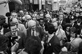 Michael Foot on an election walkabout in Brixton, South London, accompanied by Lambeth council leader Ted Knight - Peter Arkell - 30-05-1983