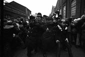 Steel strike 1980 Police block the entrance to Hadfields, Sheffield, to a mass pickets - Martin Mayer - 14-02-1980