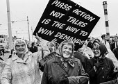 Pensioners protesting for higher payments TUC conference, Blackpool 1973. Mass action is thw way to win demands - Martin Mayer - 1970s,1973,action,activist,activists,adult,adults,age,ageing population,CAMPAIGN,campaigner,campaigners,CAMPAIGNING,CAMPAIGNS,conference,conferences,DEMONSTRATING,demonstration,DEMONSTRATIONS,elderly,