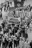 Pensioners protesting for higher pensions TUC conference, Blackpool 1973 Brass band, Teeside Pensioner Association and AEEU banners - Martin Mayer - 1970s,1973,activist,activists,adult,adults,AEEU,age,ageing population,band,bands,banner,banners,Blackpool,Brass band,CAMPAIGN,campaigner,campaigners,CAMPAIGNING,CAMPAIGNS,conference,conferences,DEMONS