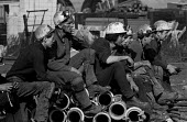 Miners at Lofthouse colliery, West Yorkshire wait for word of their colleagues trapped underground. - Martin Mayer - 23-03-1973