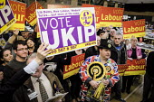 Count for the South Shields parliamentary by-election. Labour Party supporters holding banners in support of their candidate Emma Lewell-Buck, with the monster raving looney party and UKIP, South Shie... - Mark Pinder - 02-05-2013