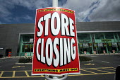 A stock liquidation and store closing sign outside the ILVA furniture retailer at the Metrocentre retail park, Gateshead, Tyne and Wear. The Icelandic owned furniture retailer has gone into into recei... - Mark Pinder - 04-08-2008