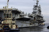 The decommissioned French aircraft carrier Le Clemenceau comes into ship dismantlers Able UK facility, Graythorp near Hartlepool. It is said to contain damaging toxins and asbestos - Mark Pinder - 08-02-2009