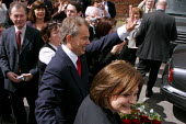 Prime Minister Tony Blair on the day he announced his resignation schedule, Trimdon Labour Club, Trimdon Village, Co Durham. 10/5 2007. Blair leaving the labour club after his speech. - Mark Pinder - 10-05-2007