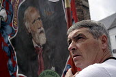 A miners banner with Keir Hardie at the 2009Durham Miners Gala, Durham,2009. - Mark Pinder - ,2000s,2009,ACE arts culture & entertainment,County Durham,MINER,miners,MINER'S