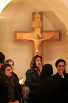Women attending Friday Mass at the Georgian Orthodox Sameba Church, Tbilisi, Georgia, 20/5 2005. - Mark Pinder - 2000s,2005,Apostolic,Catholicism,Caucasus,christian christians,christianity Christian,Church,churches,congregation,crucifix,crucifixes,FEMALE,Georgia,Georgian,god,icon iconography,jesus,Mass,monotheis