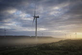 Electricity generating wind turbines shrouded by the dawn mist. Near Ridsdale, Northumberland - Mark Pinder - 2010s,2013,alternative,alternative power,dawn,EBF Economy,ELECTRICAL,Electricity,electricity generator,energy,ENI environmental issues,farm,farms windfarm windfarms wind turbine,generator,generators,l