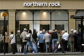 Northern Rock banking crisis. Customers queuing to withdraw deposits, city centre branch Newcastle, 2007 - Mark Pinder - 2000s,2007,a,bank,banking,banking crisis,banks,cities,city,credit crunch,customer,customers,DOWNTURN,EBF Economy,economic,economy,finance,FINANCIAL,financial crisis,headquarters,HQ,line,man men,Market
