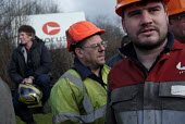 Workers and their families from the Tata Corus Teesside Blast Products steelworks in Redcar gather for a rally at the works gates on the day that the first of 1600 redundancies took effect with the mo... - Mark Pinder - 19-02-2010