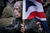 SS sig rune (or Siegrune), Hagall and Blood And Honour Totenkopf insignia. An alliance of fascist groups including the British Movement, National Alliance and Azov, the White Man March, Newcastle Upon... - Mark Pinder - 21-03-2015