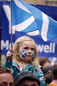 Independence For Scotland, march and rally Edinburgh - Mark Pinder - 2010s,2013,activist,activists,CAMPAIGN,campaign campaigning,campaigner,campaigners,CAMPAIGNING,CAMPAIGNS,child children,DEMONSTRATING,demonstration,DEMONSTRATIONS,Face paint,Face painting,girl girls,I