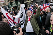Pegida supporters hold up a banner demanding No more mosques, Pegida rally Newcastle Upon Tyne - Mark Pinder - 28-02-2015