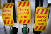 Sorry Out of Use signs on petrol pumps at a garage in Gosforth, Newcastle Upon Tyne, which has closed due running out of fuel to sell because of panic buying of petrol and diesel by the public who fea... - Mark Pinder - 30-03-2012
