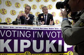 UKIP leader Nigel Farage campaigning during the 2013 South Shields by-election, Tyne and Wear, UK. Farage with the UKIP candidate Richard Elvin at a press conference. - Mark Pinder - 30-04-2013