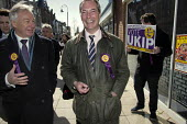 UKIP leader Nigel Farage campaigning during the 2013 South Shields by-election, Tyne and Wear, UK. Farage with the UKIP candidate Richard Elvin. - Mark Pinder - 30-04-2013