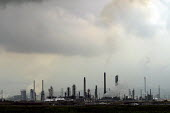 Industrial landscape of chemical plants. Teesside, North east England. - Mark Pinder - 2000s,2002,air pollution,capitalism,capitalist,chemical plant,chemical works,Chimney,Chimneys,EBF economy,ENI environmental issues,environment,environmental degradation,fumes,Industries,industry,lands