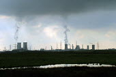 Industrial landscape of chemical plants. Teesside, North east England. - Mark Pinder - 2000s,2002,air pollution,capitalism,capitalist,chemical plant,chemical works,Chimney,Chimneys,cooling tower,EBF economy,ENI environmental issues,environment,environmental degradation,fumes,Industries,