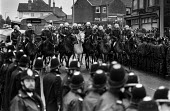 Mounted police clear the way for strikebreakers at Yorkshire Main Colliery, Edlington, South Yorkshire during the miners strike - NLA - ,1980s,1984,adult,adults,animal,animals,breaker,breakers,breaking,CLJ,collieries,colliery,confront,confrontation,confronted,confronting,DISPUTE,DISPUTES,domesticated ungulate,domesticated ungulates,Ed