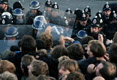 Picketing miners clash with police at Orgreave coke works, South Yorkshire - NLA - 1980s,1984,adult,adults,battle,Battle of Orgreave,BSC Coking Plant,CLJ,coke,confront,confrontation,confronted,confronting,DISPUTE,DISPUTES,force,INDUSTRIAL DISPUTE,MATURE,member,member members,members