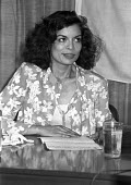 Bianca Jagger press conference. London. - NLA - 1980s,1982,Bianca Jagger,FEMALE,Foundation,Human Rights,Jagger,people,person,persons,woman,women