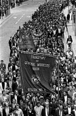 Building workers strike 1972. Merseyside workers march in support of their demand for 35 for 35 hour week and an end the the Lump, Liverpool. - NLA - ,1970s,1972,activist,activists,banner,banners,Building,Building workers strike,BUILDINGS,CAMPAIGN,campaigner,campaigners,CAMPAIGNING,CAMPAIGNS,casual,DEMONSTRATING,demonstration,DEMONSTRATIONS,dispute