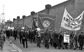Protest outside Leicester Prison at the jailings of the Shrewsbury 2. - NLA - 1970s,1975,activist,activists,AEEU,banner banners,Building workers strike,Building workers strike 1972,CAMPAIGN,campaign campaigning,campaigner,campaigners,CAMPAIGNING,CAMPAIGNS,conspiracy charges,DEM