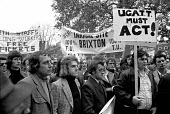 Building workers lobby their union UCATT to demand action to force the release of the Shrewsbury 2 jailed pickets. London - NLA - 1970s,1974,activist,activists,banner banners,Building,Building workers strike,Building workers strike 1972,BUILDINGS,CAMPAIGN,campaign campaigning,campaigner,campaigners,CAMPAIGNING,CAMPAIGNS,DEMONSTR