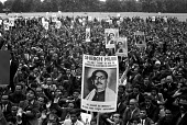 Bangladesh war of independence 1971. Mass march in London in support of independence, with picture of Sheikh Mujibur Rahman - NLA - 04-04-1971