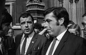 Upper Clyde Shipyards workers leaders Jimmy Airlie (L speaking) and Jimmy Reid outside parliament before meeting with MPs - NLA - 29-09-1971