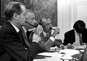 Pipe smoking union leaders of Equity union meeting. Gerald Croasdell Gen Sec, Ernest Clarke (Pres), Peter Plouviez Ass Sec, Harley Street, London - NLA - 01-11-1970