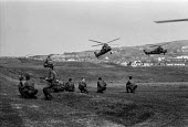 British troops, training exercise, Northern Ireland 1970, landing and exiting from helicopters - NLA - 22-06-1970