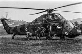British troops, training exercise, Northern Ireland 1970, landing and exiting from a helicopter - Martin Mayer - 22-06-1970