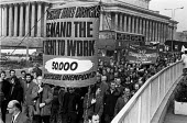 March in Liverpool demanding the right to work, and the repeal of the Rent Act. - NLA - 1970s,1972,Act,activist,activists,against,anti,banner,banners,CAMPAIGN,campaigner,campaigners,CAMPAIGNING,CAMPAIGNS,cities,city,councils,DEMONSTRATING,DEMONSTRATION,DEMONSTRATIONS,Housing Finance Act,
