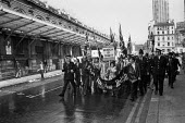 Britain for the British. Smithfield porters passing the market building on a National Front march in Support of Enoch Powell and against the immigration of Ugandan Asians. - NLA - 05-07-1972