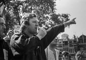 Danny Harmston, Smithfield porter and former bodyguard of Fascist leader Oswald Mosley speaking 1972 rally of Smithfield workers and National Front members in support of Enoch Powell and against the r... - NLA - 05-07-1972