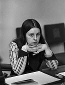 Bernadette Devlin in thoughtful mood during press conference at House of Commons - NLA - 1970s,1974,activist,activists,Bernadette,Bernadette Devlin,Bernadette Devlin McAliskey,CAMPAIGN,campaigner,campaigners,CAMPAIGNING,CAMPAIGNS,civil rights,Commons,conference,conferences,Devlin,equal ri