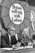 (L-R) Jim Callahan & Harold Wilson at a Labour Party election press conference - NLA - 16-09-1974