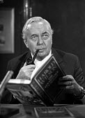 Former Labour Prime Minister Harold Wilson at the launch of his book called The Governance of Britain - Martin Mayer - 1970s,1976,book,BOOKS,Britain,Governance,Harold,Labour,Labour Party,launch,Minister,of,pipe,PIPES,pol,political,POLITICIAN,POLITICIANS,politics,The,Wilson