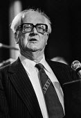 Fenner Brockway (Lord Brockway) speaking at the Labour Party conference, Blackpool, 1978 - Martin Mayer - 1970s,1978,Anti War,Antiwar,Brockway,Campaign for nuclear disarmament,CND,conference,conferences,conscientious,Fenner,Labour Party,Lord,LORDS,male,man,men,objector,On,PACIFISM,Party,PEACE,peace moveme