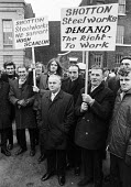 Shotton steelworkers protest in Shotton, Deeside, against proposed closure - NLA - 1970s,1973,activist,activists,against,British Steel,BSC,campaign,campaigner,campaigners,campaigning,CAMPAIGNS,closed,closing,closure,closures,Deeside,DEMONSTRATING,Demonstration,DEMONSTRATIONS,ISTC,jo