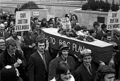 Shotton steelworkers march through London to protest at the planned closure of their steelworks on Deeside - NLA - 1970s,1973,a,activist,activists,against,British Steel,BSC,campaign,campaigner,campaigners,campaigning,CAMPAIGNS,casket,cities,City,closed,closing,closure,closures,coffin,coffin bearing,Deeside,DEMONST