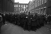 Steel strike 1980 Police block a mass picket at the entrance to Hadfields Limited Steelworks, East Hecla Works, Sheffield - NLA - 14-02-1980