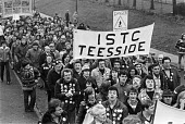 Steel strike 1980 Consett steelworkers, threatened with cuts, march through their town in support of pay claim for 20 pay rise - NLA - 14-01-1980