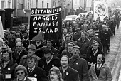 Steel strike 1980 Steelworkers march through Newport, South Wales, in support of their claim for 20 pay rise, and in defense of their jobs. Maggies fantasy island - NLA - 25-01-1980