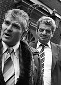Steel strike 1980 union leaders Bill Sirs ISTC, left, and Hector Smith NUB outside 10 Downing Street after talks with Thatcher Government - NLA - 21-01-1980