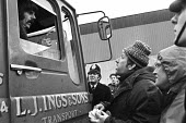 Steel strike 1980 Mass picket at Sheerness, Kent. Pickets speaking to a lorry driver - NLA - 07-02-1980