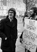 Paul Foot Editor of the Socialist Worker newspaper with former editor Roger Protz outside the law courts in during a trial for contempt at which the paper was fined £7500, London. They had printed th... - NLA - 16-10-1974